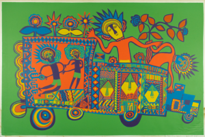 Mathias Kauage, Independence Celebration, screenprint, 1975, Papua New Guinea